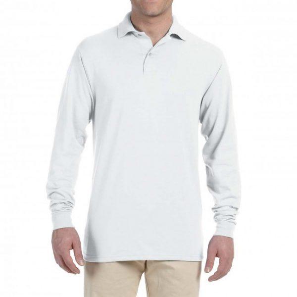 Рубашка поло белая с длинным рукавом, 200 г/м2