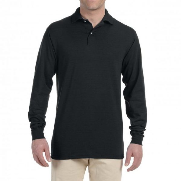 Рубашка поло черная с длинным рукавом, 200 г/м2