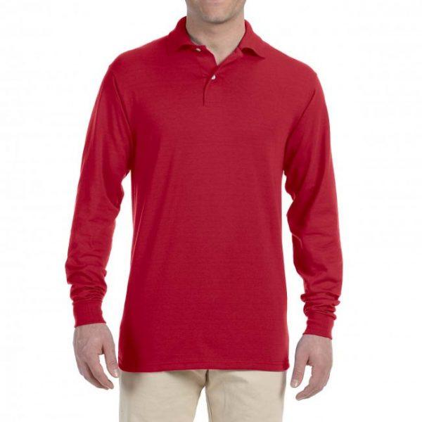 Рубашка поло красная с длинным рукавом, 200 г/м2