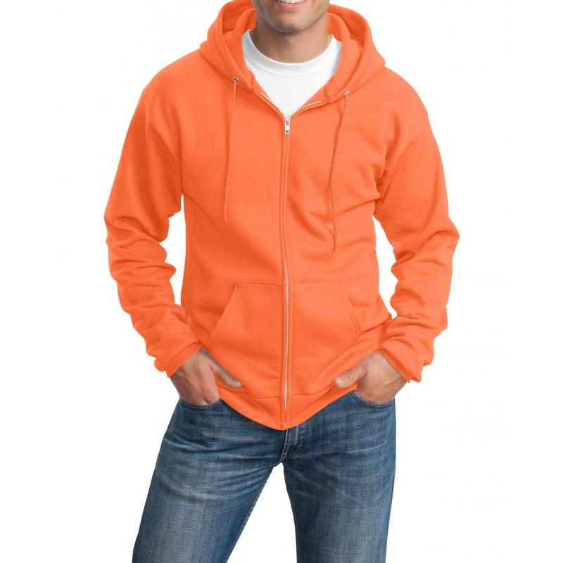 Толстовка с капюшоном оранжевая на молнии, 340 г/м2