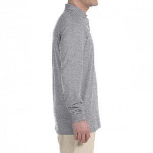 Рубашка поло серая (меланж) с длинным рукавом