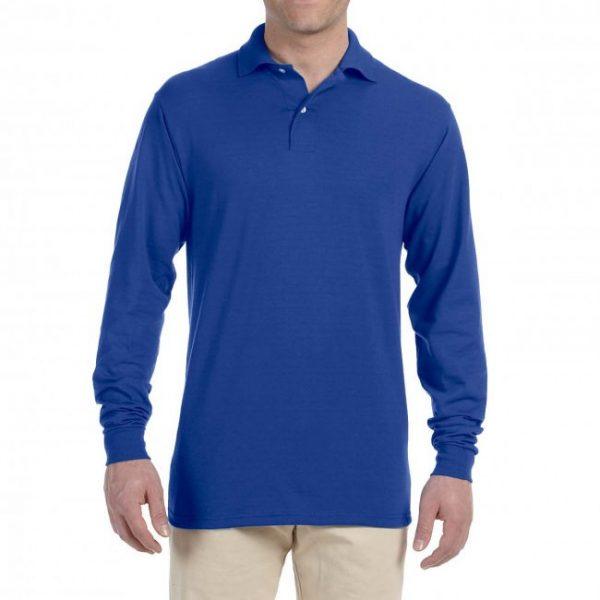 Рубашка поло ярко-синяя с длинным рукавом, 200 г/м2