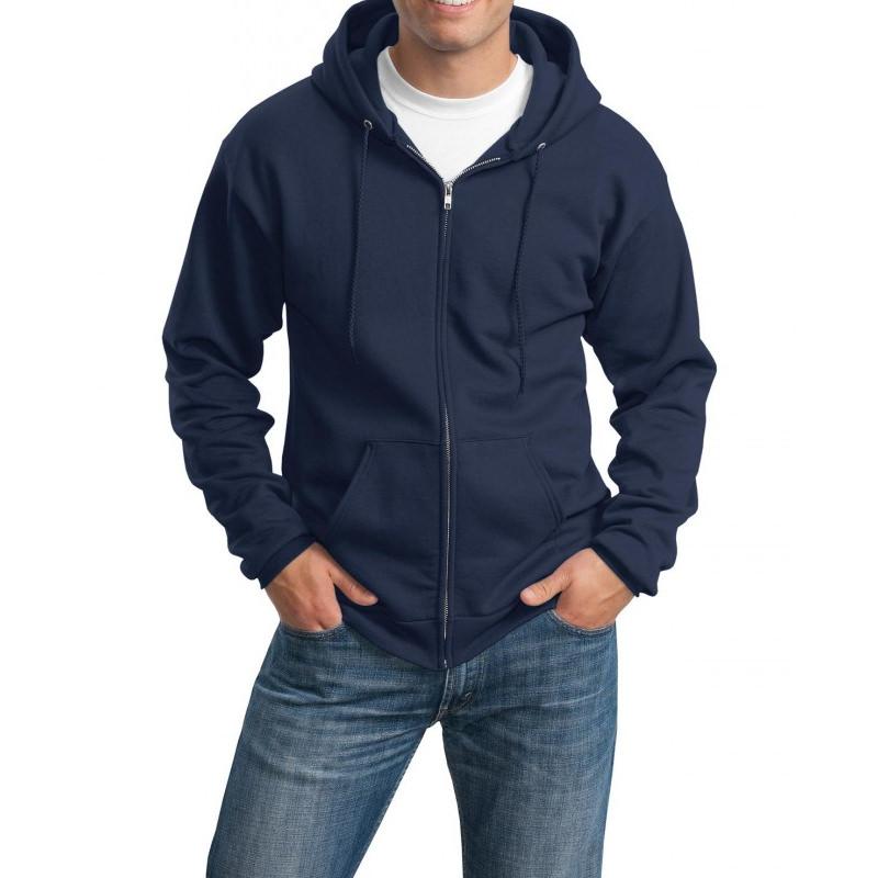Толстовка с капюшоном темно-синяя на молнии, 340 г/м2