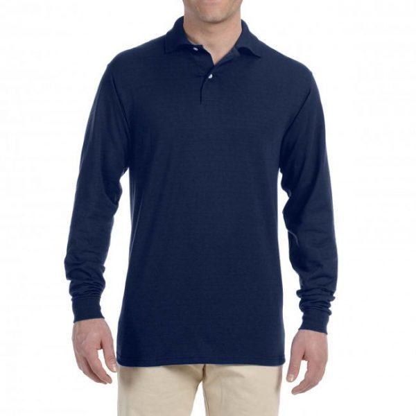 Рубашка поло темно-синяя с длинным рукавом, 200 г/м2