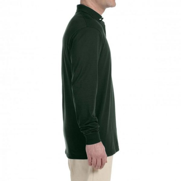 Рубашка поло темно-зеленая с длинным рукавом, 200 г/м2