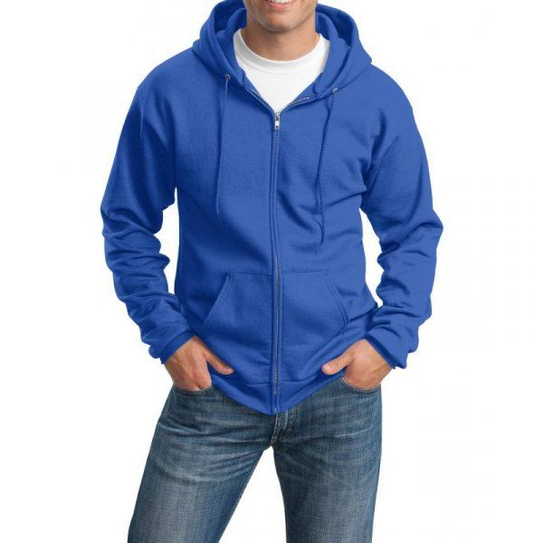 Толстовка с капюшоном ярко-синяя на молнии, 340 г/м2