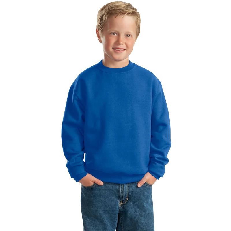 Детская толстовка без капюшона (свитшот) ярко-синяя