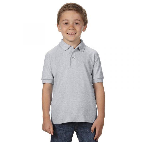 Детская рубашка поло серая (меланж)