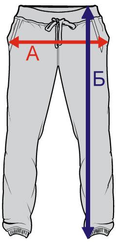 Таблица размеров спортивных брюк плотностью 320 грамм/м2