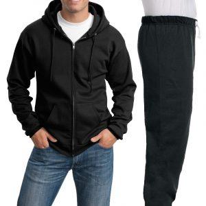 Костюм черный: толстовка на молнии и спортивные брюки, 320 г/м2