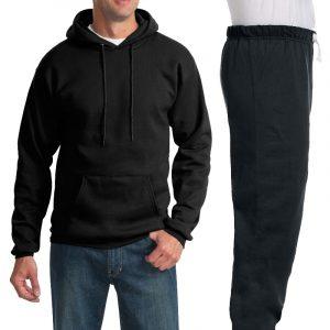 Костюм черный: толстовка без молнии и спортивные брюки, 320 г/м2