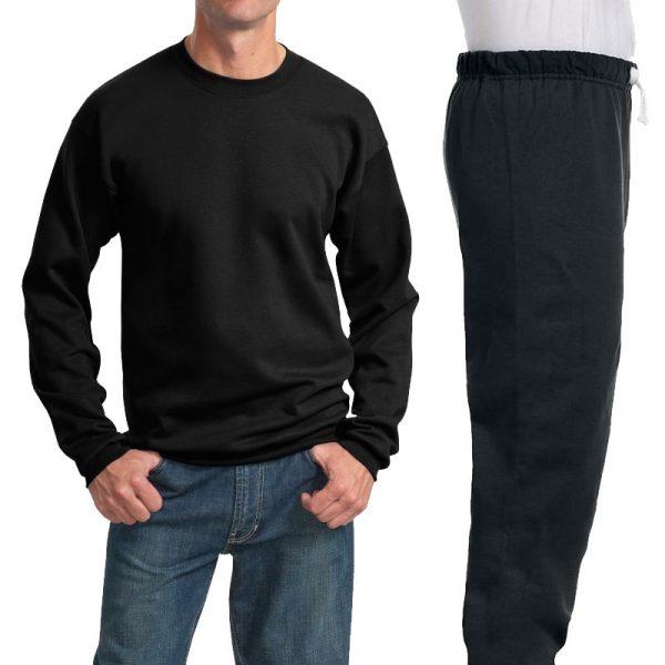 Костюм черный: толстовка без капюшона (свитшот) и спортивные брюки, 320 г/м2