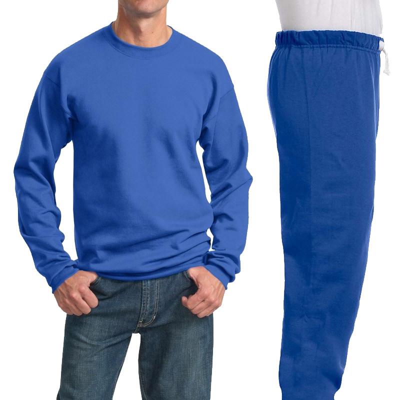 Костюм ярко-синий: толстовка без капюшона (свитшот) и спортивные брюки, 320 г/м2