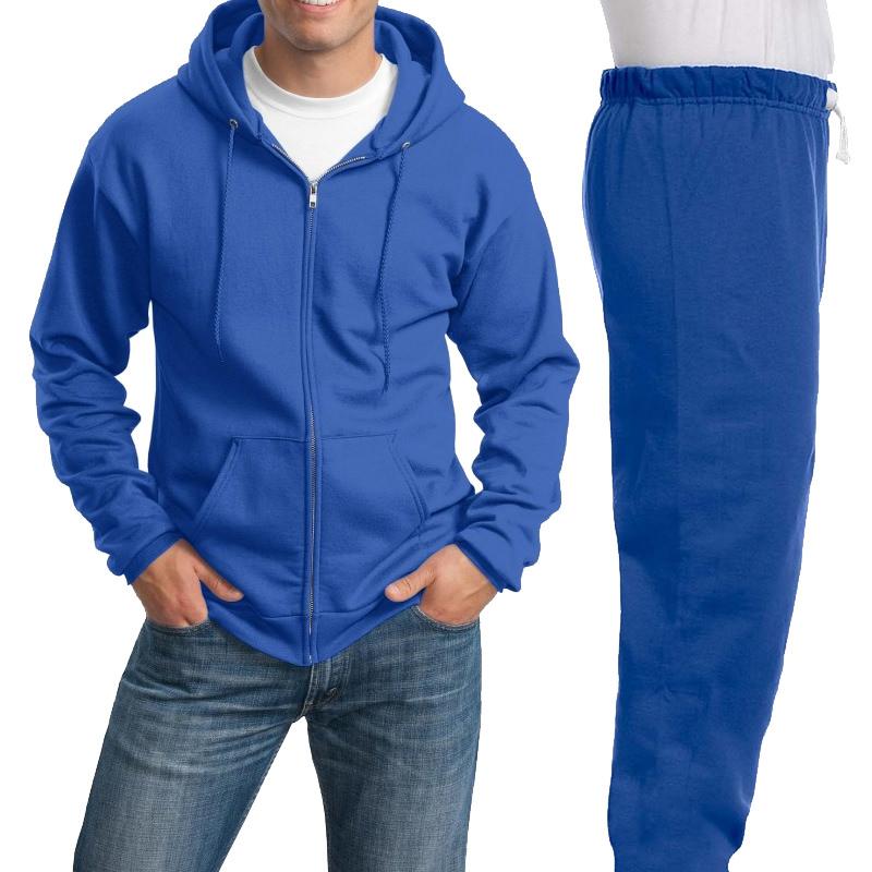 Костюм ярко-синий: толстовка на молнии и спортивные брюки, 320 г/м2