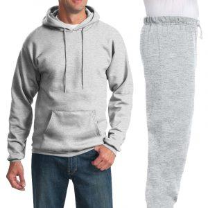 Костюм серый (меланж): толстовка без молнии и спортивные брюки, 320 г/м2