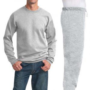 Костюм серый (меланж): толстовка без капюшона (свитшот) и спортивные брюки, 320 г/м2