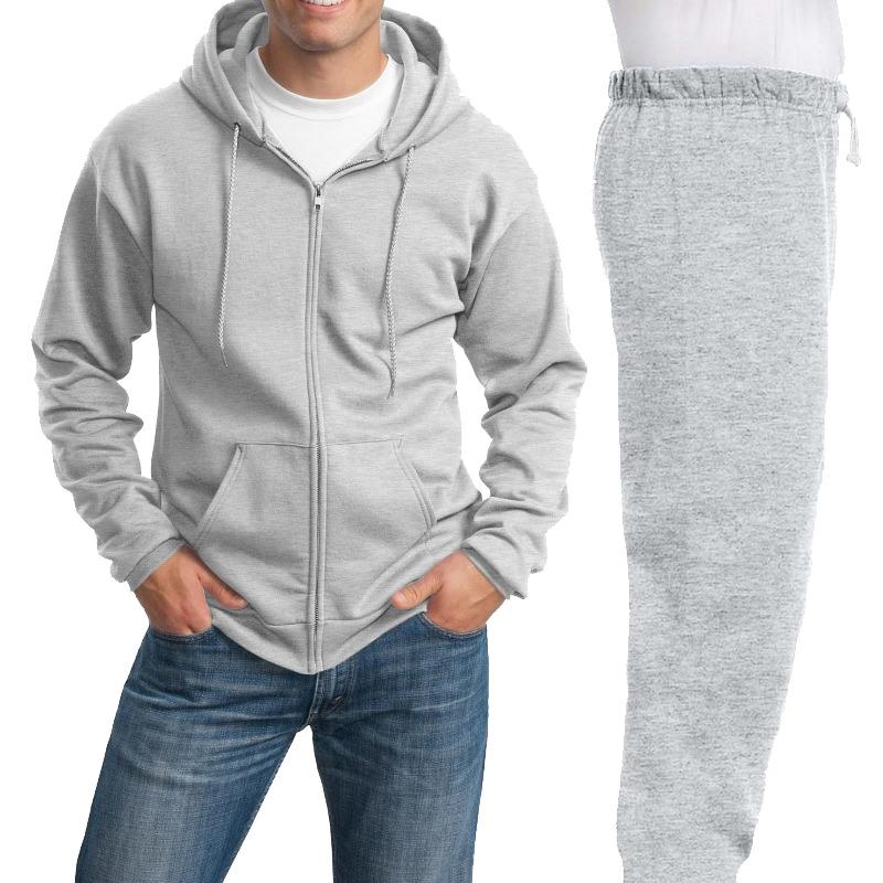 Костюм серый (меланж): толстовка на молнии и спортивные брюки, 320 г/м2