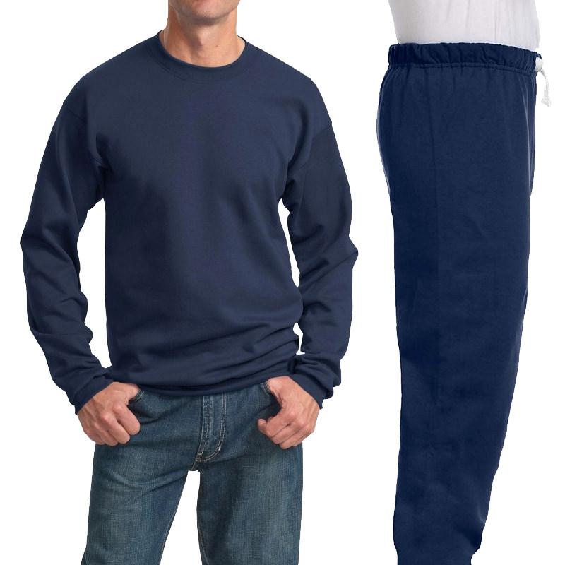 Костюм темно-синий: толстовка без капюшона (свитшот) и спортивные брюки, 320 г/м2